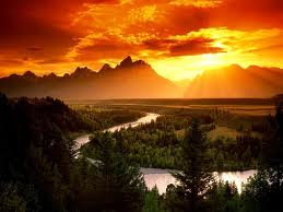 Mountains w sunset and river image