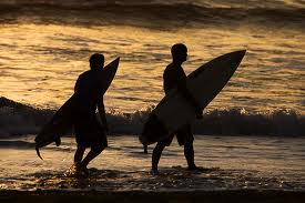 Surfers walking at Dusk image