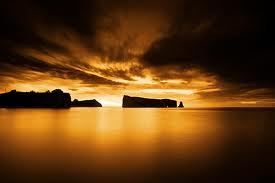 sunset dark yellow and black