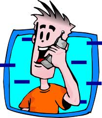Cartoon Guy on Cell Phone