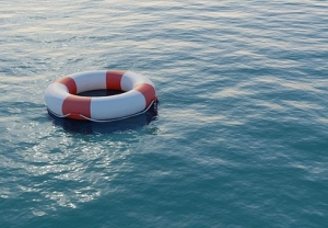 life preserver on water