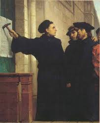 Luther M nailing Theses at Wittenburg